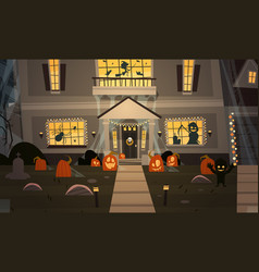 house decorated for halloween home building front vector image