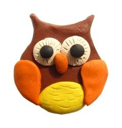 Icon of plasticine owl vector