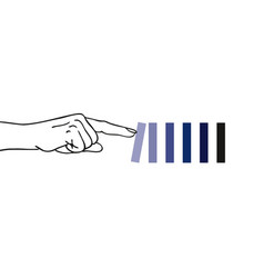 index finger a hand pushing first domino vector image
