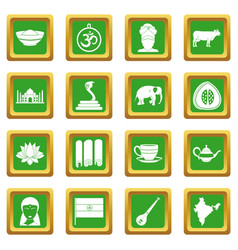 India travel icons set green vector