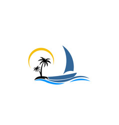 Inspiration logo a boat with palm icon ship in sea vector