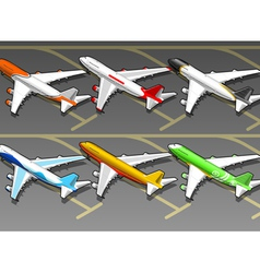 Isometric Airplanes in Six Livery in Rear View vector