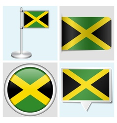 Jamaica flag - sticker button label flagstaff vector