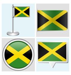 Jamaica flag - sticker button label flagstaff vector