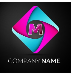 Letter m logo symbol in the colorful rhombus vector