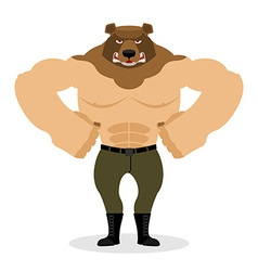 Man Bear Strong powerful wild evil animal with big vector