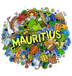Mauritus hand drawn cartoon doodles vector