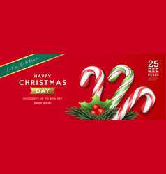 Merry christmas sale colorful candy cane and holly vector