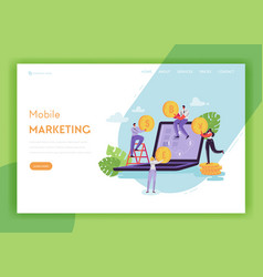 mobile marketing landing page template banking vector image