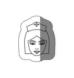 Monochrome contour sticker with head of female vector