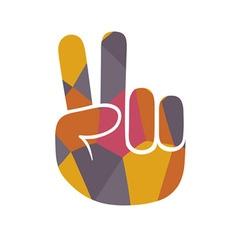 Mosaic peace gesture vector image