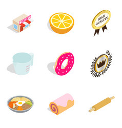 Multivitamin icons set isometric style vector