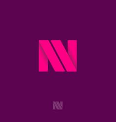 n origami monogram pink ribbons like letter n vector image