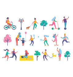 park people isolated icons set vector image