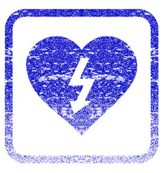 Power love heart framed textured icon vector