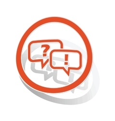 Question answer sign sticker orange vector