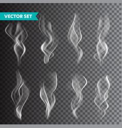 realistic cigarette smoke set isolated vector image