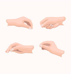 Realistic hand set with fingers positions on white vector