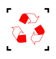 recycle logo concept red icon inside vector image