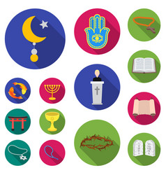 Religion and belief flat icons in set collection vector