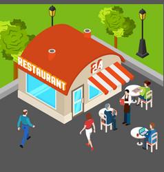 Restaurant building isometric composition vector