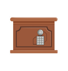 Retro brown safe box with a keypad buttons panel vector