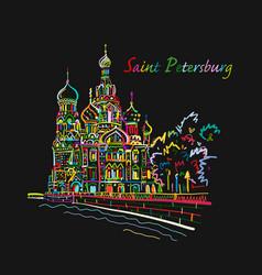 Saint petersburg church saviour on spilled vector