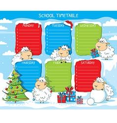 School timetable funny sheep vector