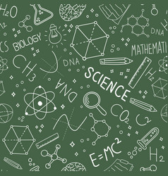 science blackboard doodle seamless pattern vector image