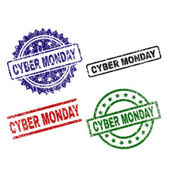 scratched textured cyber monday seal stamps vector image