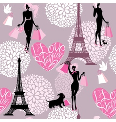 Seamless pattern - Effel Tower hearts with calligr vector