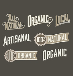 Set of 6 Organic Natural Food Labels with vintage vector