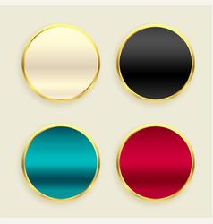 Shiny metallic golden circular buttons set vector