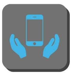 Smartphone care hands rounded square button vector