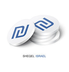 Stack white tokens with sheqel sign vector
