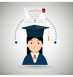 student woman graduation education vector image