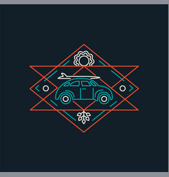 summer retro car line art icon with surf board vector image