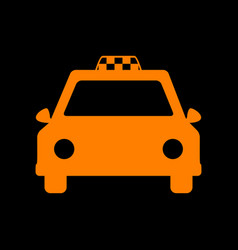 taxi sign orange icon on black vector image