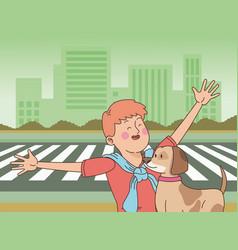 Teenager smiling and walking dog cartoon vector