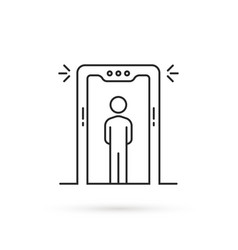 thin line airport security scanner icon vector image