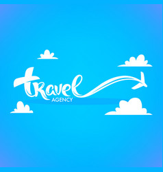 travel agency lettering logo with white clouds vector image