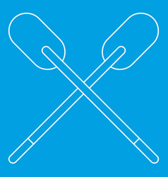 Two wooden crossed oars icon outline vector