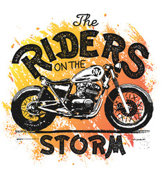 Vintage motorcycle hand drawn t-shirt print vector