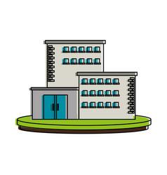 white big city building icon image vector image