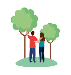Woman and man avatar backwards at park with trees vector