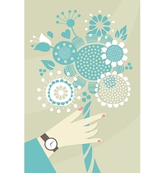 Woman hand and flowers vector image