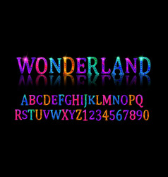 Wonderland font fairy abc vector