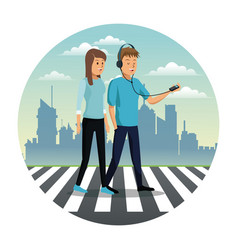 Young couple walking street urban background vector