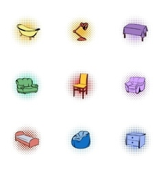 Home furniture icons set pop-art style vector image vector image