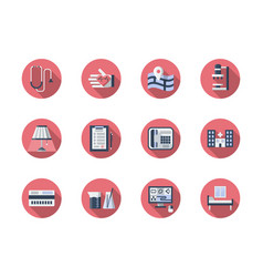 medical support flat round icons set vector image vector image